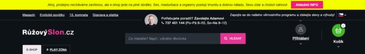 Notifikační lišta RůžovýSlon.cz