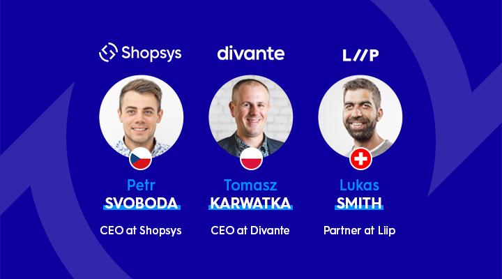 Petr Svoboda (Shopsys), Tomas Karwatka (Divante), Lukas Kahwe Smith (Liip)